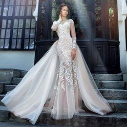 Wholesale Detachable Long Sleeve Bridal - Elegant High Quality Lace Mermaid Long Sleeves Wedding Dresses 2017 Formal Long Bridal Gowns with Detachable Train