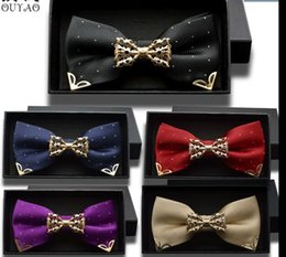 Wholesale Groom Groomsmen Shirts - 2016 New Men Bow Tie Brand Classic Double Bowtie For Men Leisure Business Shirts Metal Decor Tie Groom Groomsmen Wedding Party