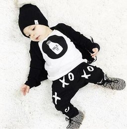Wholesale T Ox - Cute Newborn 6 12 18 24M Baby Boys Outfits Milk T-shirt OX Pants 2pc Set Clothes hight quality new arrive free shipping