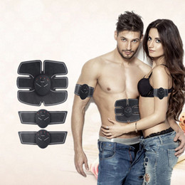Wholesale Abdominal Belts - Ultimate ABS Stimulator Abdominal EMS Muscle Exerciser Belt Fat Burner Massager Body Slimming Pad AB & Arms Full Set