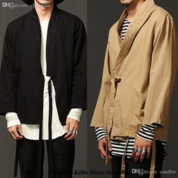 Wholesale Japanese Mens Jackets - Fall-New Fashion designer cool mens kimono japanese clothes streetwear casual sand color and black outwear jackets kanye west jacket