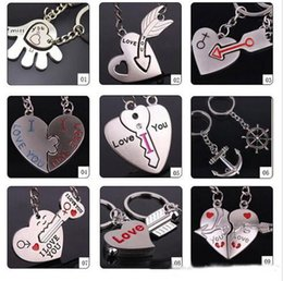 Wholesale Couples Heart Rings - 2016 fashion new 9 different style I LOVE YOU Heart Keychain Ring Keyring Lover Romantic Creative New chaveiro couple Key Chain Best Gift