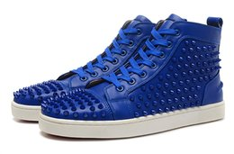 Wholesale Womens Studded High Tops - New arrival mens womens blue genuine leather with glitter Spike Studded high top sneakers,designer causal flat red bottom sports shoes 36-46
