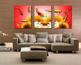 Wholesale Framed Fish Pictures - Modern Feng Shui Zen Art Koi Fish Play Lotus Flower Giclee Print On Canvas Wall Decor Set30063