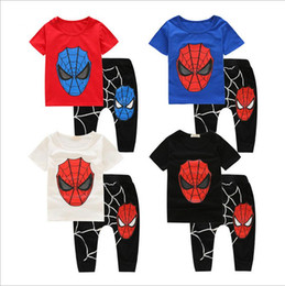 Wholesale Kids Spiderman Tracksuit - 4 Color Summer Spiderman Baby Boys Kid SportsWear Tracksuit Outfit cartoon Suit kids Short sleeve T-shirt +shorts 2 pcs Suit
