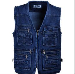 Wholesale Mens Multi Pocket Vest - Free shipping Male Denim Vests Men 3XL 4XL 5XL Vest Mens Outdoors Cotton Multi Pocket Sleevless Jean Jacket Men Jeans Masculino