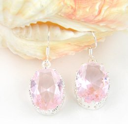 Wholesale Wholesalers Chandeliers Usa - Wholesale hot sell Promotion Jewelry Oval Pink Topaz Crystal Wedding Earrings Russia USA Australia Earrings Free Shipping