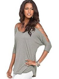 Wholesale Shoulder Cut Shirts - Women Batwing Top Cold Shoulder T Shirt Sexy Cut Out Tops Casual Loose Raglan Blouses Tunic 3 4 Sleeve Solid