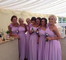 Wholesale Bridesmaids Designer Dresses - One Shoulder Long Chiffon Bridesmaids Dresses 2015 A Line Simple Cheap Designer Plus Size Bridemaids Dresses Maid Of Honor Under $100