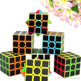 Wholesale puzzle stickers - ZCUBE 3x3x3 Carbon Fiber Sticker Speed Smooth Magic Cube Puzzle Cube Educational Toys for Kids