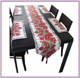 Wholesale Table Runners Unique Cloth - Red Unique Christmas Holiday Table Runners Place-mat set Christmas flower leaf Rectangle Table cloth Decorative Bed Runner