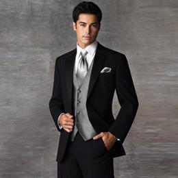 Wholesale Skinny Flat Ties - Wholesale- 2017 New Formal Brand Men Wedding Suit Business Suits Men's Clothing Suits For Men Groom Tuxedos Suits (Jacket+Pants+Vest+tie)