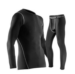 Wholesale Mens Cycling Tights Long - mens tracksuit sweat suits pro sports tights Sports Tights Long Sleeve Set comfortable absorbent cycling running Fitness clothes