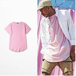 Wholesale Summer Cotton Shirts - Summer Men Short Sleeve Extended Hip Hop T shirt Oversized Tyga Kpop Swag Men's Casual Yeezus Streetwear Camisetas trasher