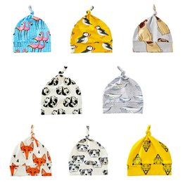 Wholesale Head Wrap Toddler - Baby Pointy Hat Cartoon Cute Flamingo Skull Caps Cotton Printed Toddler Newborn Infant INS Head Wraps Beanies 8 Styles OOA2612