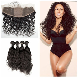 Wholesale natural silk - 13x4 Silk Lace Frontal Closure With Brazilian Water Wave Human Hair Weave Bundles 5pcs Lot Brazilian Wet And Wavy Hair Wefts G-EASY