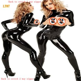 Wholesale Leather Jumpsuit Wholesale - Wholesale- 2017 Women Sexy Black PVC Jumpsuit Open Crotch Costumes Erotic Fetish Catsuit Latex Faux Leather Rompers Play Clothes