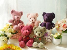 Wholesale Stuffed Animals Wedding Bears - New Fresh Teddy Bears Plush Toy 27cm Teddy Plush Toy Stuffed Animals Bear Doll with Bownot Wedding Gift Children Bear Soft Toys