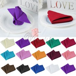 Wholesale Linen Napkins For Weddings - Wholesale- 100PCS 30x30cm Wedding Table Napkin Linen Napkin Polyester Handkerchief Cloth for Wedding Party Banquet Xmas Dinner Table Decor