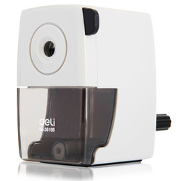 Wholesale Pc Basic - Wholesale-1 pc metal pencil sharpeners basic type for office hand crank pencil cutting machine 2 colors white and black Deli 0610b