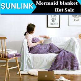 Wholesale Handmade Wool Blankets - Mermaid Tail Blanket Handmade Knitted Blanket New Fashion Fish Tail Sofa Blanket TV Wool Children Adult, 80*190cm 60*140cm