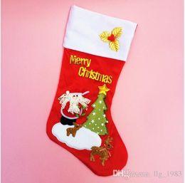 Santa decorado árboles de navidad online-2016 Hot s Christmas Gift Calcetines Decorar Red Santa ClausElk Kid árbol de navidad Parche Regalo Medias varios patrones (12 unids / lote)