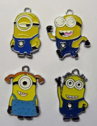 Wholesale minion bags - Hot Sale!100pcs Yellow Cartoon Character Metal Charms Pendant Minions Party Bags Filler Choose Style