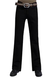 Wholesale Boot Cut Pants For Men - Wholesale-Mens Black Boot Cut Jeans Plus Size 28 to 38 Big Denim Jean Flare Pants Trousers For Men