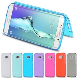Wholesale Iphone Flip Case Candy - Candy Colorful Soft TPU Transparent Clear Flip Cover Case For iPhone 7 7 plus 6 6S Plus 5 5S Samsung Galaxy S7 edge S6 Note 5 4 Touch Screen
