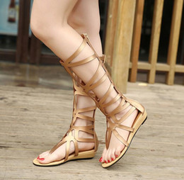 Wholesale Ladies Shoes Zipper - Top Quality Fashion Women's Hollow out Clip toe Roman Shoes zipper wedge boot Lady Gladiator Roman Boots Vintage Sandals