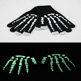 Wholesale Skeleton Touch Screen Gloves - Wholesale-2016 Halloween Night Luminous Skull Skeleton Gloves Touch Screen Gloves Warm Knitted Winter Gloves For Men Women WSJ005
