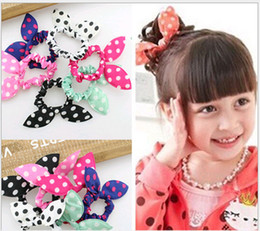 Wholesale Rabbit Ornament - Mix Style Hair Ornaments Polka Dot Rabbit Ears Elastic Hair Bands Girl Headwear Headband Scrunchy Children Hair Tie Ring
