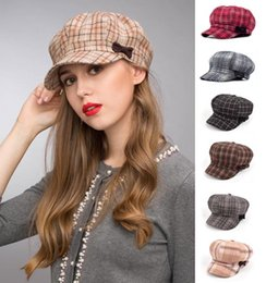 Wholesale Gatsby Newsboy Hats - Stand Focus Women Cabby Baker Boy Gatsby Women Hat Newsboy Cap Ladies Fashion Wool Tweed Check Plaid Tartan Fall Winter Pink Brown Gray