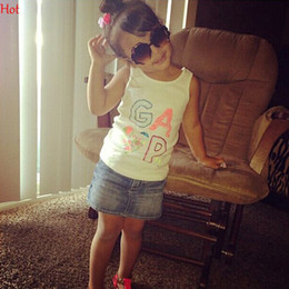 Wholesale Kids Clothes Jeans Skirts - 2016 New Euro Girls Printed Letters Tank T Shirts Sleeveless Jeans Denim Skirt Mini Casual Summer Two Piece Set Outfit Kids Clothes SV021895