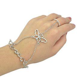 Wholesale Rhinestone Slave Bracelet Jewelry - Romantic Silver Bracelet Crystal Rhinestone Butterfly Flower Charms Wrist Bracelets Hand Slave Chain Jewelry Lots12 Pcs