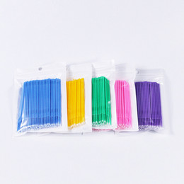 Wholesale Disposable Eyeliner Applicators - Wholesale 100pcs lot Durable Micro Disposable Eyelash Extension Individual Applicators Mascara Brush Makeup tools Free Shopping