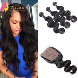 Wholesale Wholesale Silk Base Closure Extensions - Silk Base Closures with 3 Bundls Brazilian Malaysian Indian Peruvian Human Hair Extensions 8-30inch Unprocessed Hair Weave
