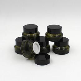 2019 bocaux cosmétiques en verre vert Livraison gratuite 200 PCS / lot pot de verre vert 15g, bouteille de crème verte 15cc, récipient en verre d'épaule oblique, emballage cosmétique bocaux cosmétiques en verre vert pas cher