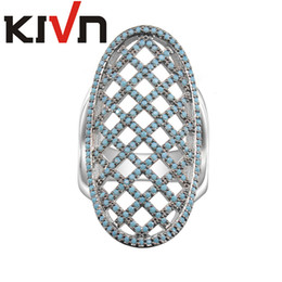 Wholesale Turquoise Engagement Rings Women - KIVN Fashion Jewelry Turquoise CZ Cubic Zirconia Wedding Bridal Engagement Rings for Women Promotional Christmas Birthday Mothers Day Gift