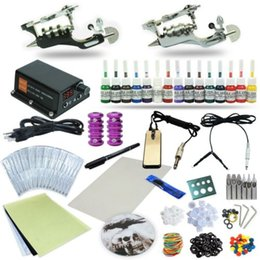 Wholesale Rotary Machine Tattoo Set - Complete Tattoo Kit 2 Rotary Machine Gun Set Power Supply Foot Pedal 15 Color Inks TK-101