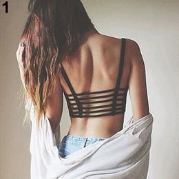 Al por mayor-Nueva moda de la mujer Sexy Bralette enjaulado espalda recortar tiras sujetador acolchado Bralet chaleco Top 6RDR 7G3Y 852L desde fabricantes