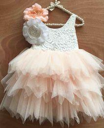 Wholesale Childrens Sashes - Baby Girls Dress Christmas Lace Flower Tutu 2016 Summer Autumn Dresses Childrens Sleeveless Kids Clothing Party Dress