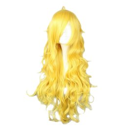 Wholesale Yellow Long Wigs - Free Shipping 80CM Long Wavy Synthetic Yellow Color Cosplay Wig 100% High Temperature Fiber Hair WIG-011D