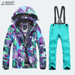 Wholesale Sport Snowboard Jackets - Wholesale- 2018 Women Ski Suit Thermal Outdoor Sport Wear Skiing Snowboard Windproof Waterproof Jacket Pant Super Warm Female Suit Winter