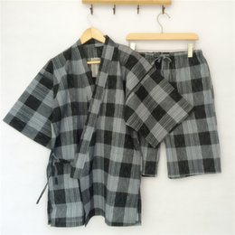 Wholesale Gauze Men Pants - Wholesale-Men's Cotton Plaid Kimono Robe Long Bathrobe for Men with Pants Double-Layer Gauze Tracksuit Home Clothing