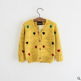 Wholesale Girl Coat Heart - Kids sweater coat girls colorful love heart knitting cardigan outwear children single breasted princess coat kid autumn cotton clothes T0421