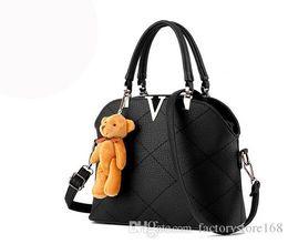 Wholesale Hard Dolls - Sweet style Diamond Lattice womens handbags mini bear doll hard leather shoulder bags shell shape crossbody bags