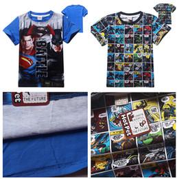 Wholesale Superhero Boys Shirts - 2016 Batman VS Superman T-shirts Cartoon Superhero T-shirts for kids Baby Boys Short Sleeve Summer Tee Shirts 6 styles 4pcs lot D575 20