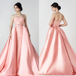 Wholesale Cheap Strapless Dresses For Women - Saiid Kobeisy Lace Detachable Train Prom Dresses Long Strapless Neck Overskirt Party Gowns Cheap Beaded Evening Wear For Women