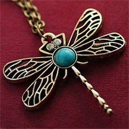 Wholesale Dragonflies Earring - x5 2015 New Vintage Jewelry Accessories Fashion European And American Style Retro Dragonfly Necklace Free Shipping